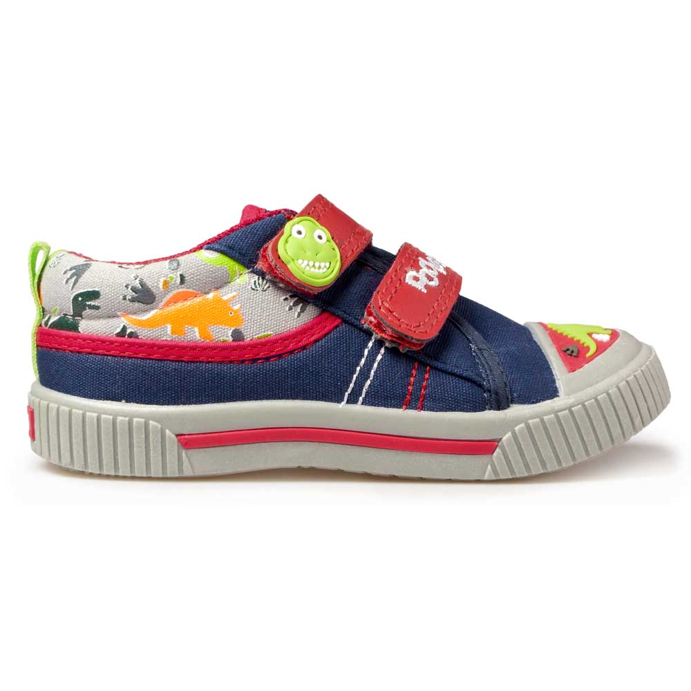 Blue toddler boys sneakers with dinosaur motifs