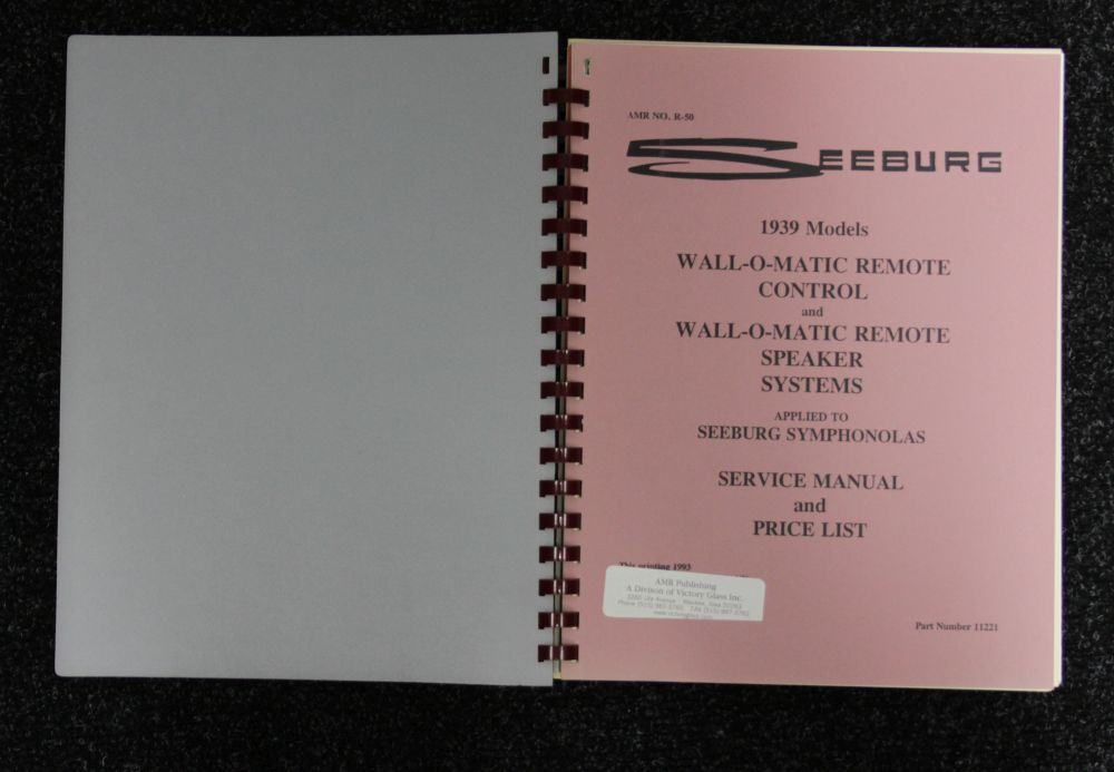 Seeburg - Service Manual - 1939 Models Wall-O-Matic RC and Speaker