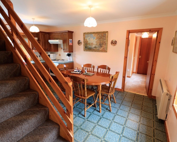 The kitchen diner at East Challoch Farm self catering holiday cottage near Stranraer, overlooking Luce Bay