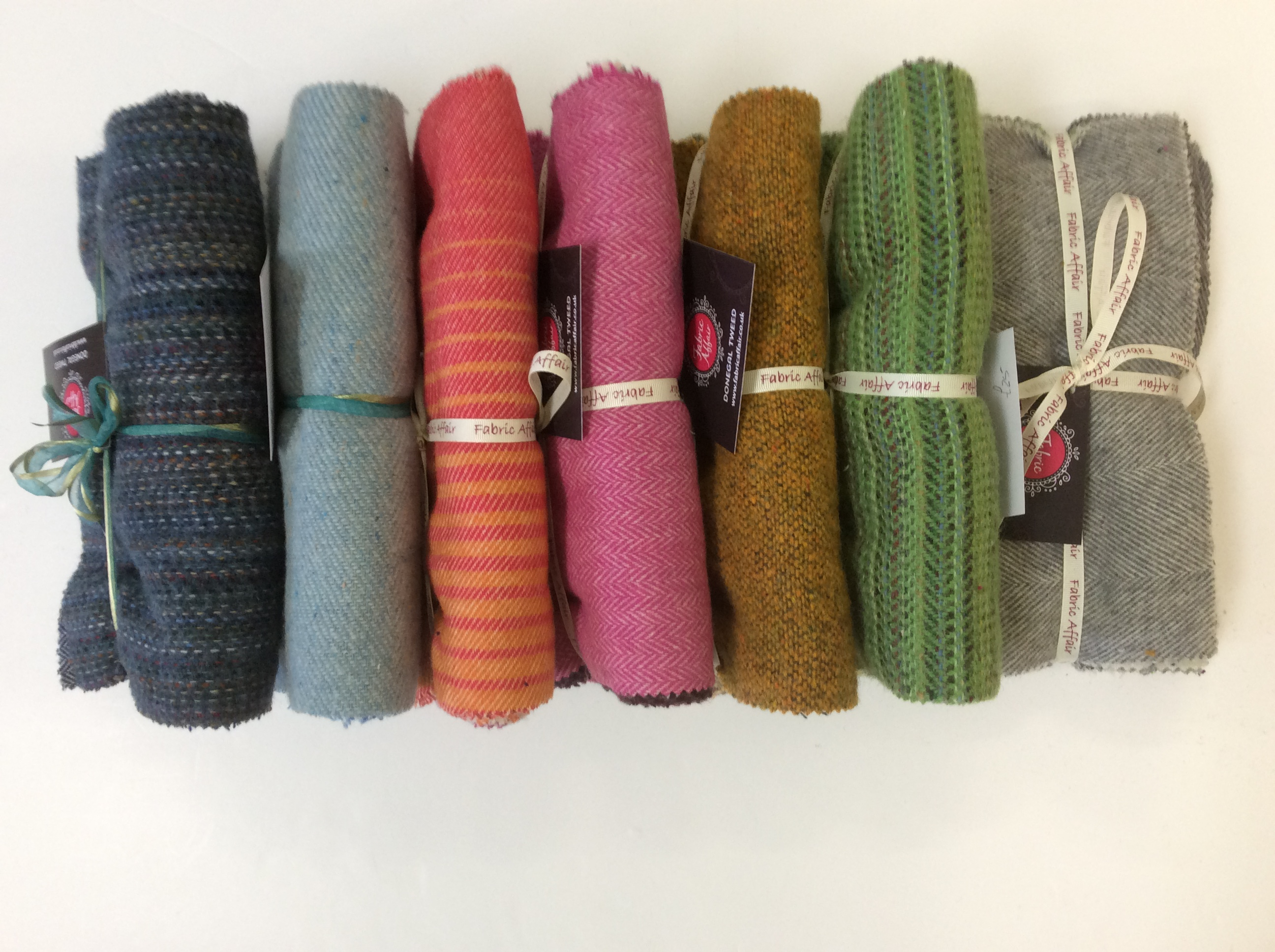 "Fabric Affair: "" Donegal Tweed Rolls""."