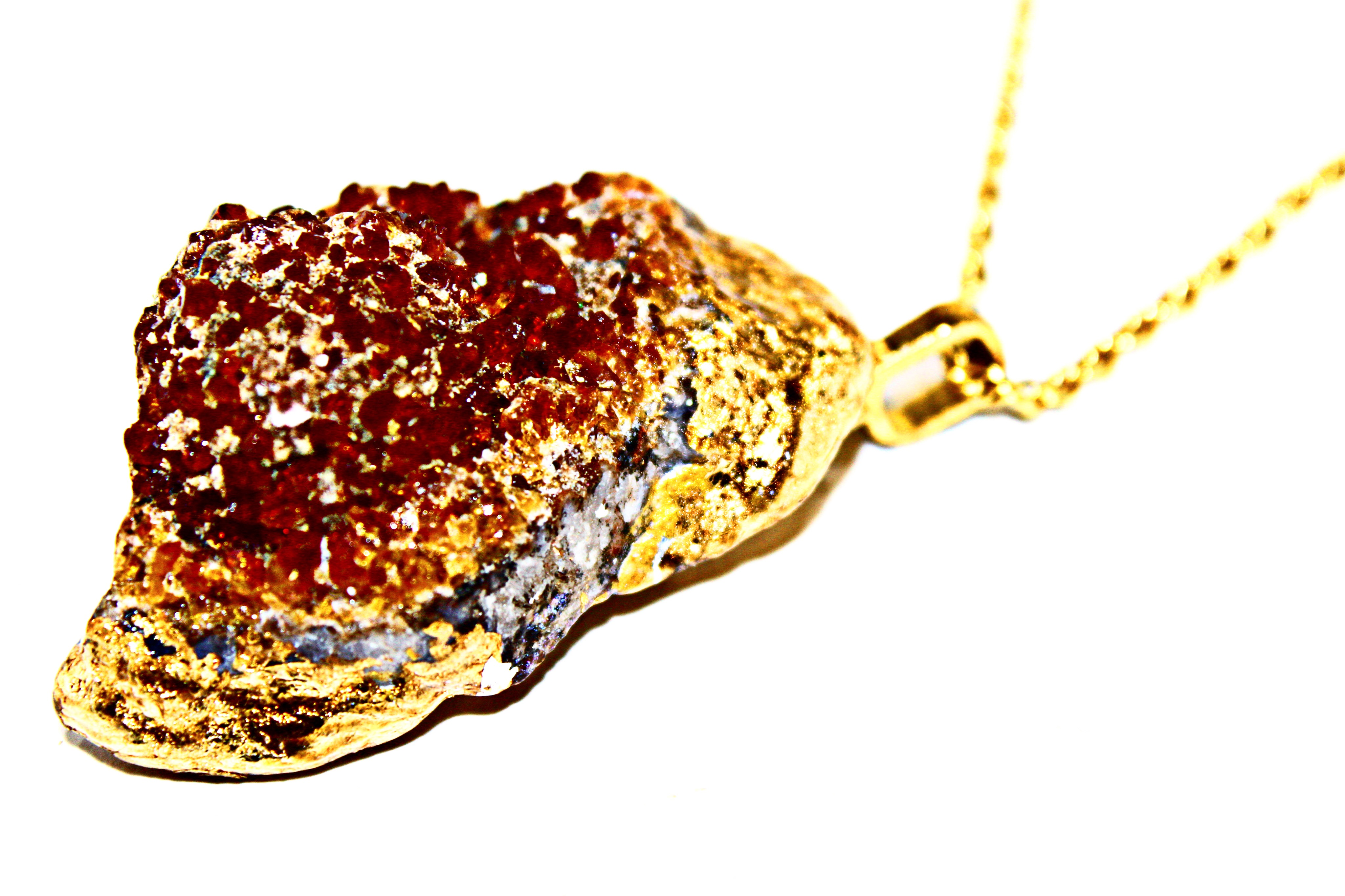 14k gold Citrine pendant and chain