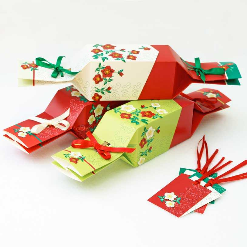 Re-usable Crackers in the Christmas Rose design