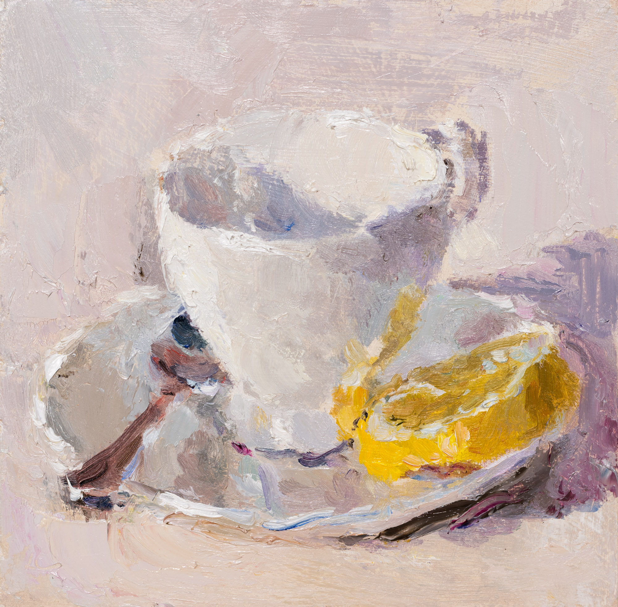 Teacup, Lemon and Spoon, Oil on Board, 17.2cm x 17.5cm (2019-40)  SOLD