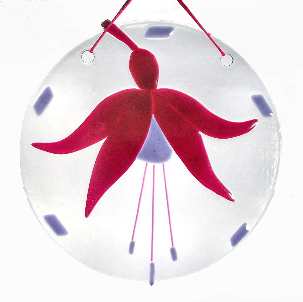 Fused-glass Fuchsia suncatcher (large)