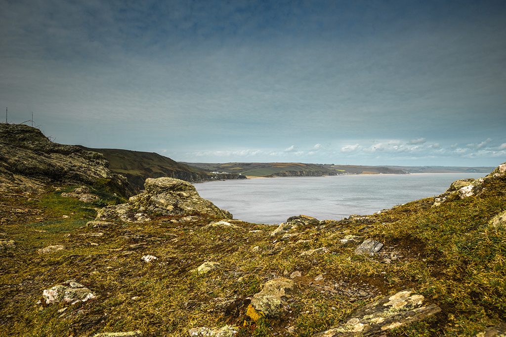 View from Black Hole Ridge over Freshwater Bay and South Hams Coastline. Stock Image ID: 2523