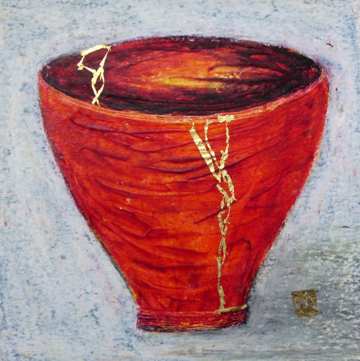 painting of Japanese kintsugi tea bowl with gold by Irish artist vermillion red
