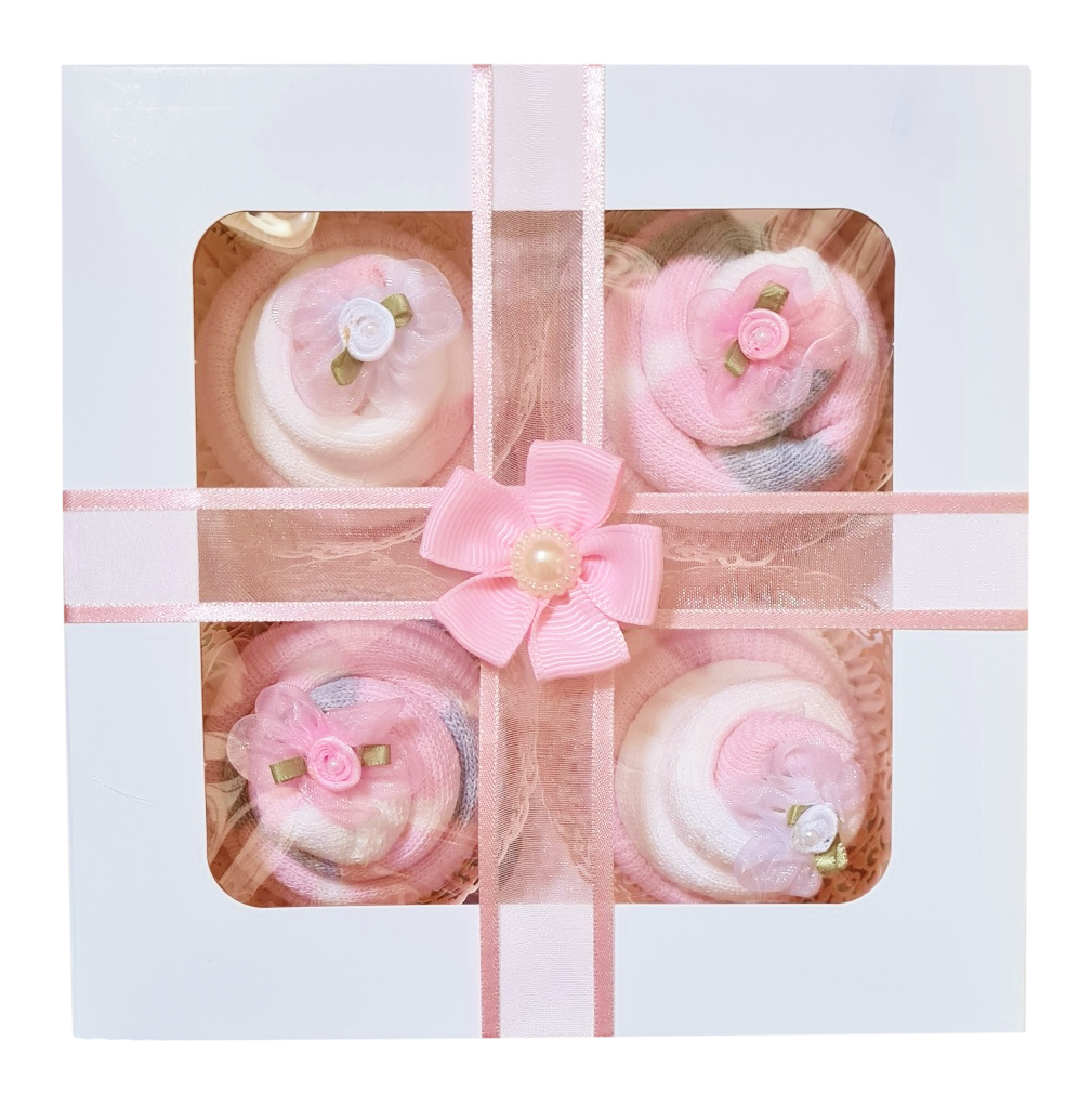 Women's Thermal Sock Cupcakes - Pink Ribbon Gift Box