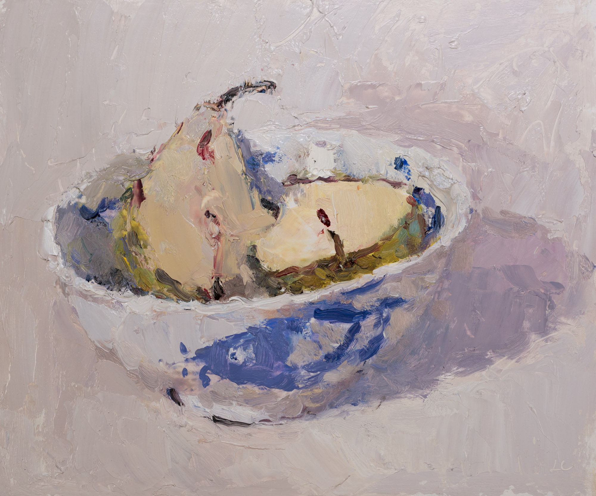 Pear Halves in a Chinese Bowl 1, Oil on Board, 21.3cm x 25cm (2019-77)