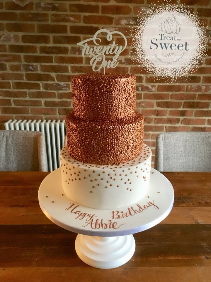 3 Tier 21st Birthday Cake In Rose Gold Sequins