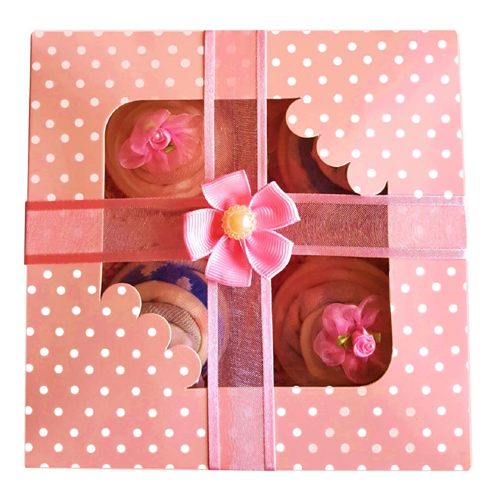 Women's Sock Cupcakes - Pink Gift Box