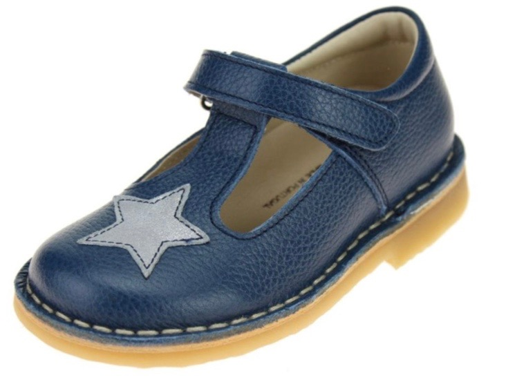 Mary Jane sandals in blue leather for girl toddlers