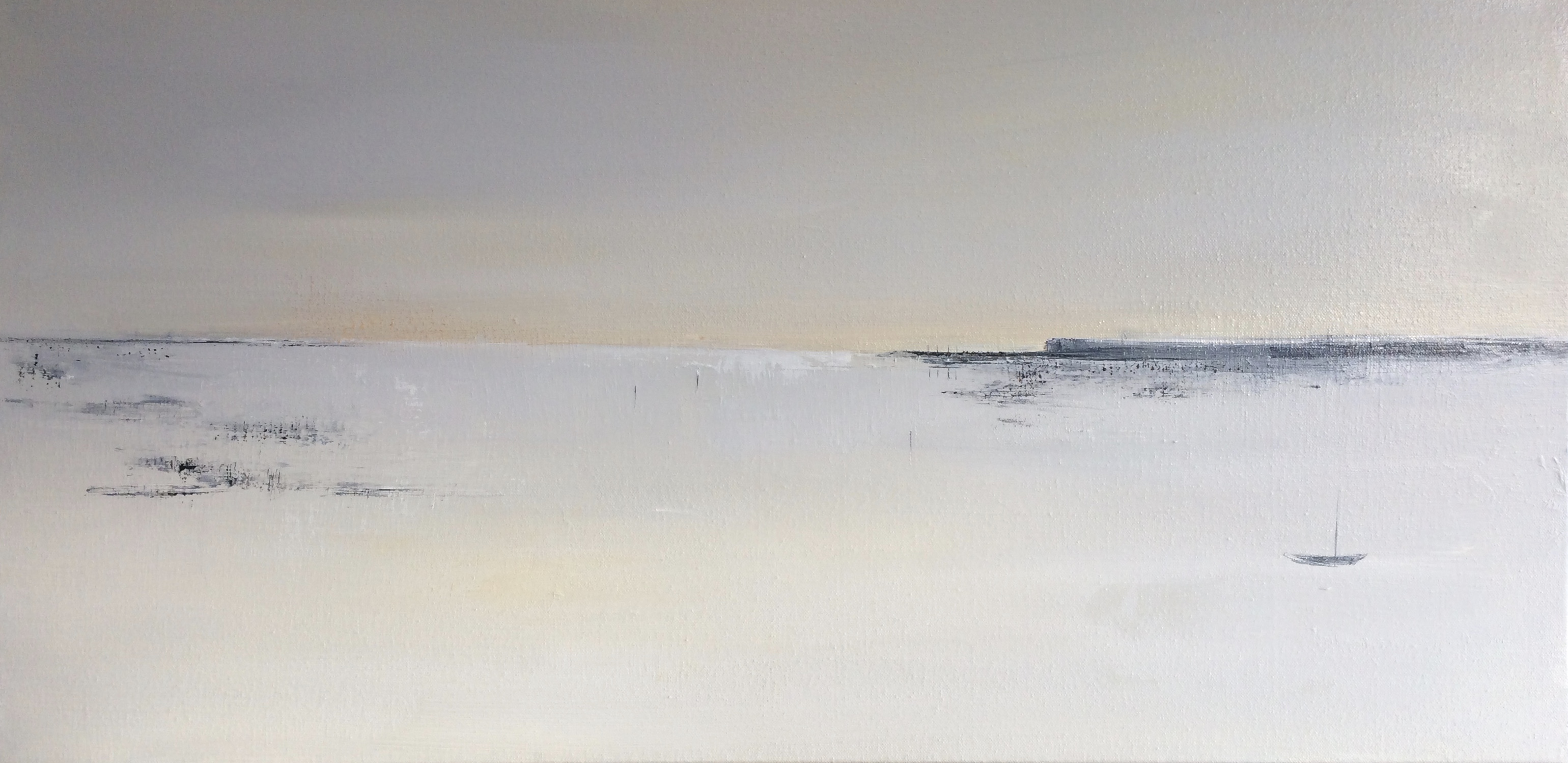 'By the Harbour', oil 50x100cms, unframed