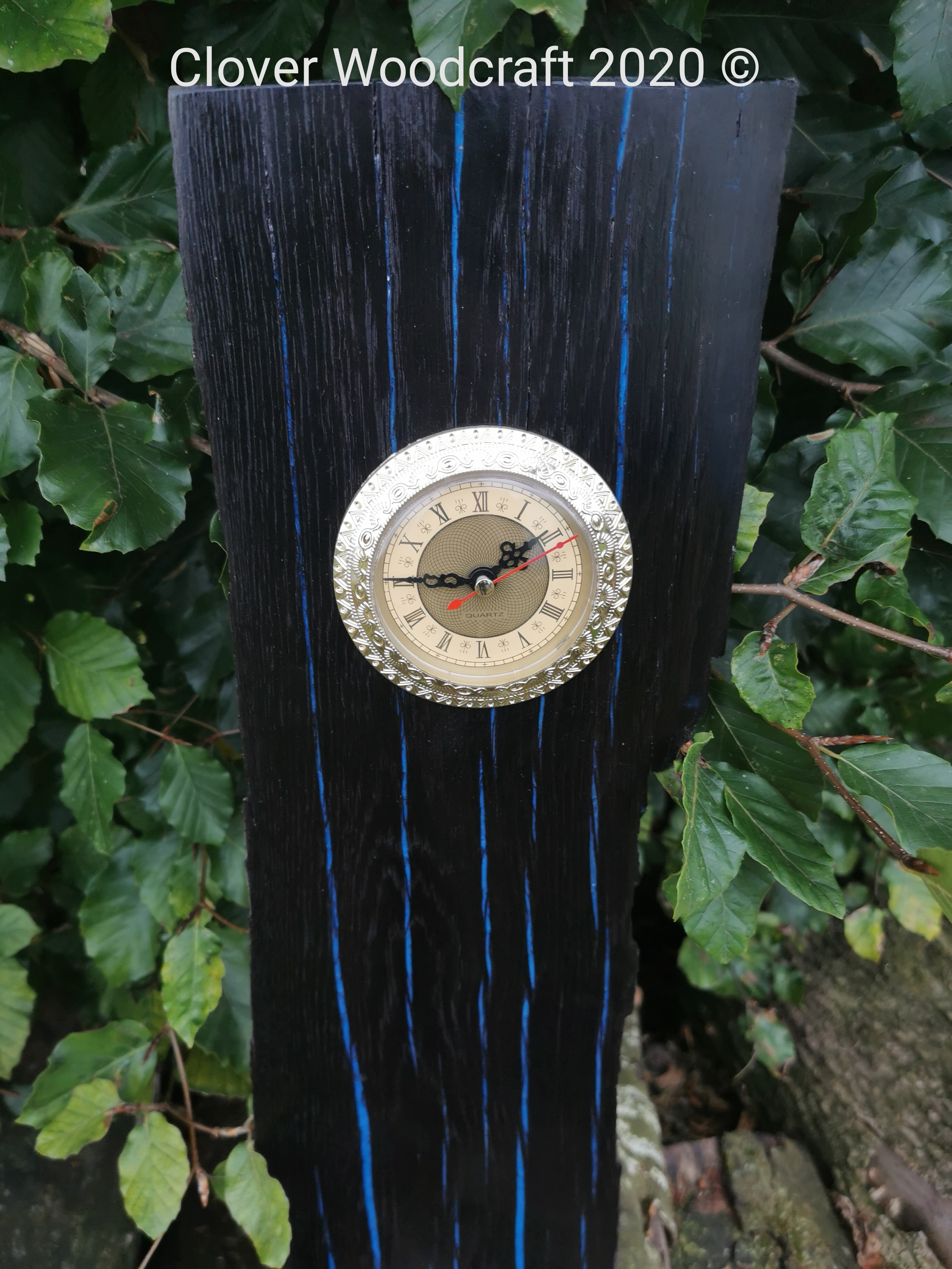 Ancient Irish Bog Oak Clock, Handcrafted Irish Bog Oak Wood