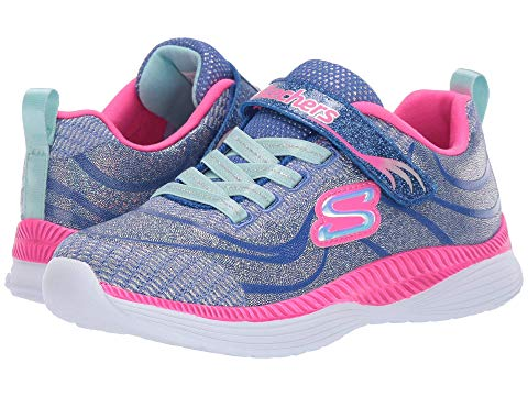 Blue, silver and pink Skechers trainers for toddler girls