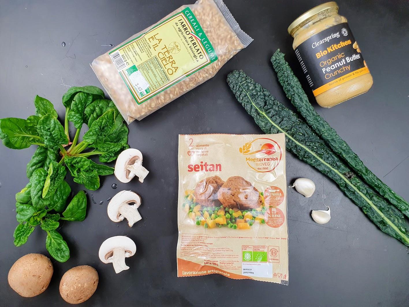 Ingredienti per Seitan con cereali e verdure jpg