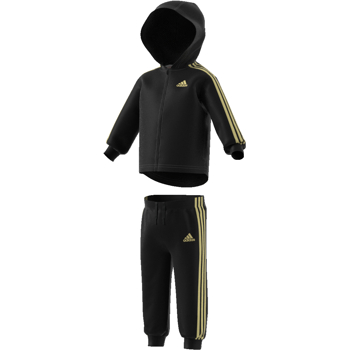 Adidas 3S Shinny Fullzip Hood Suit Black-Gold
