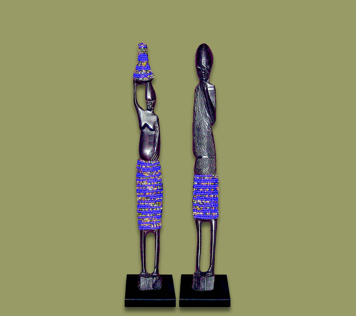 Z4 African Beaded Statues Pair (Bulk Purchase)