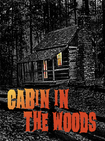 Logo for Cabin in the Woods Escape Room game depicting an old log cabin in a forest