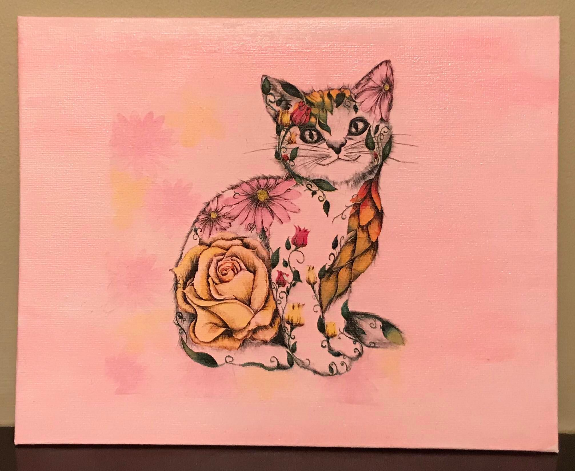 Colourful Flower Cat Canvas Board
