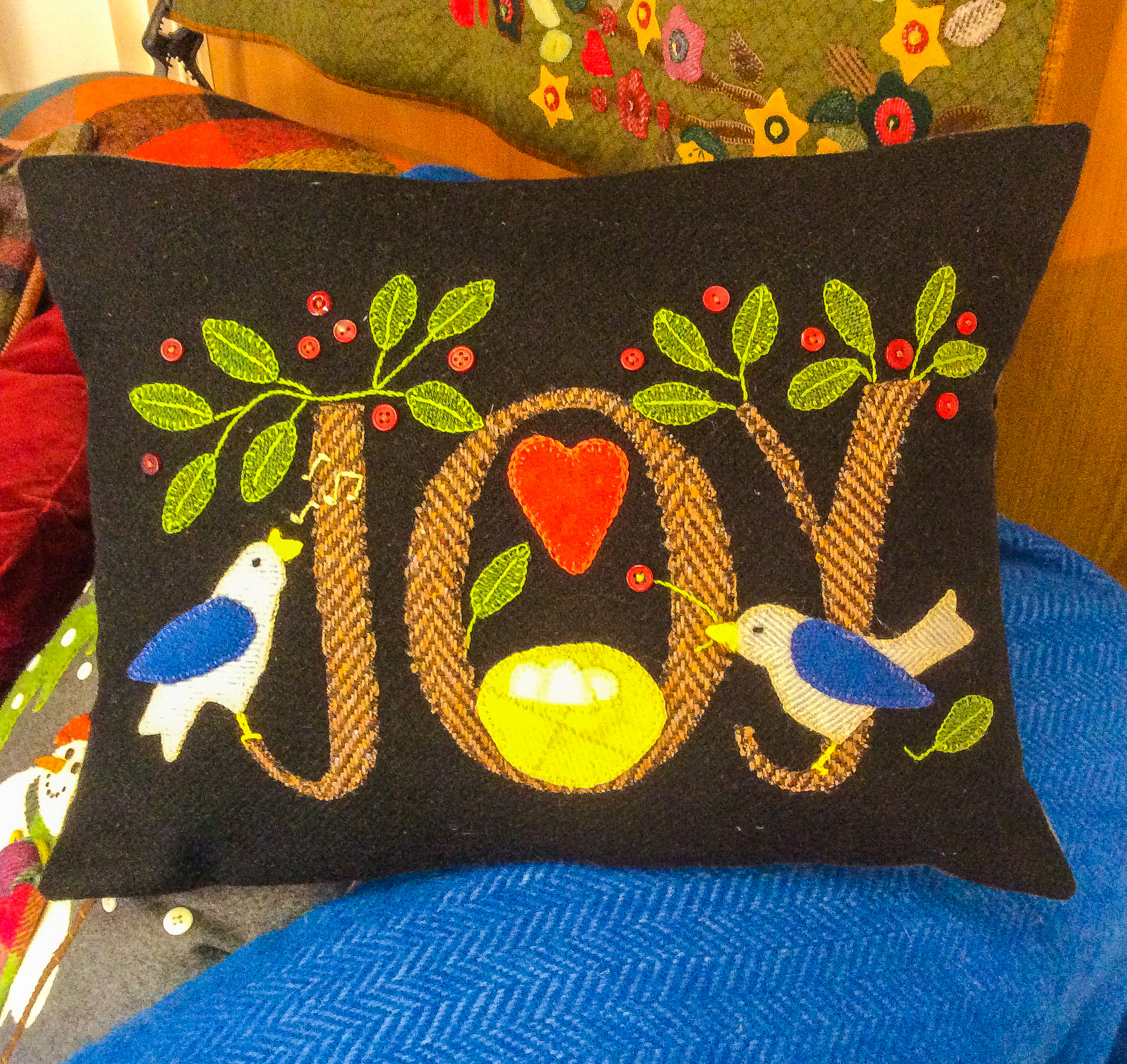 "Fabric Affair: "" Bonnie Sullivan, Joy cushion kit ""."