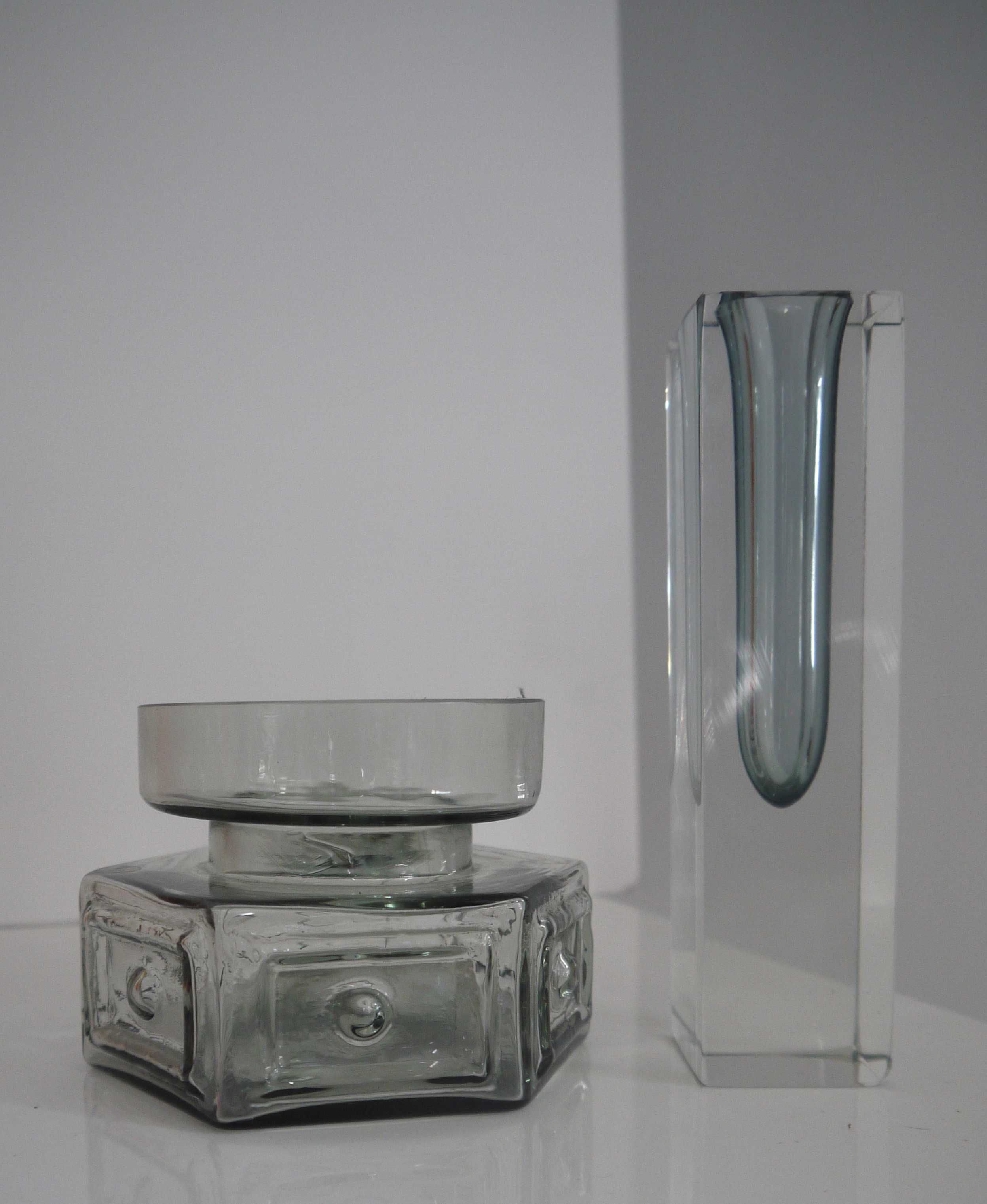 Silver Metallic Grey Murano rectangular Sommerso vase (only)