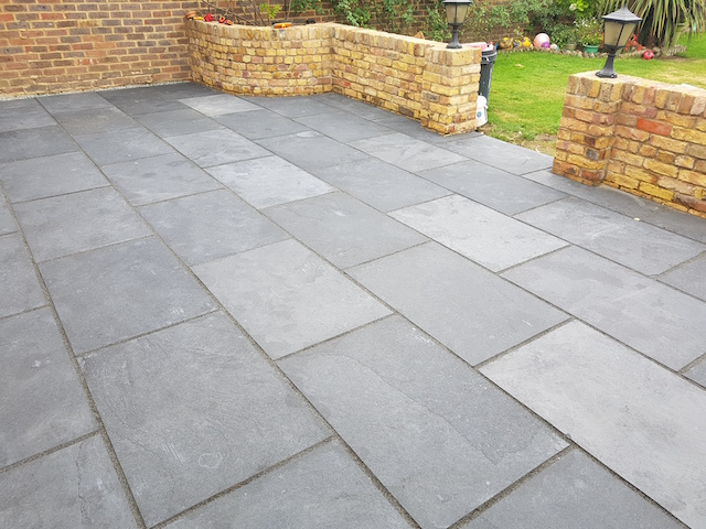 Natureal Limestone Patio in Shepperton by Block Paving Surrey