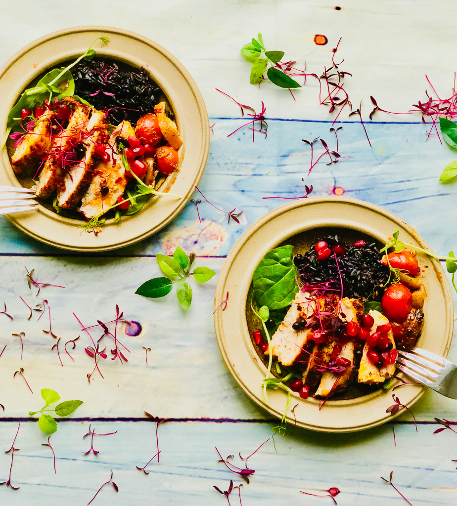 Harissa Chicken with Black Rice