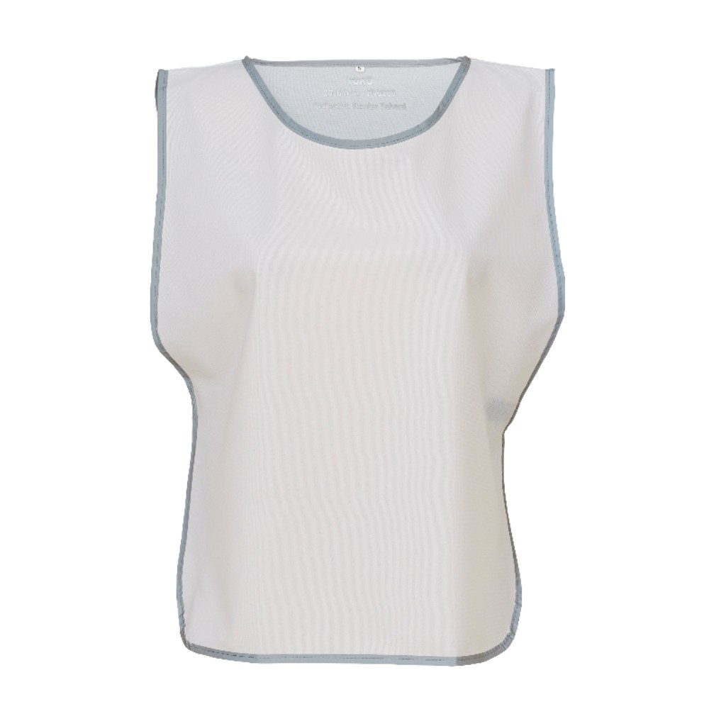 KHVJ259 White Polyester Tabard with Reflective Trim