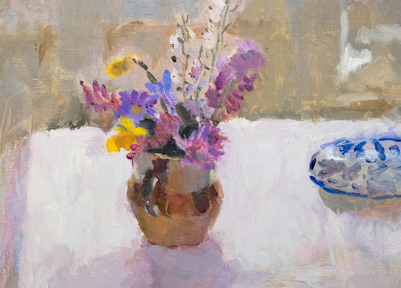 Spring Flowers in a Stoneware Jug