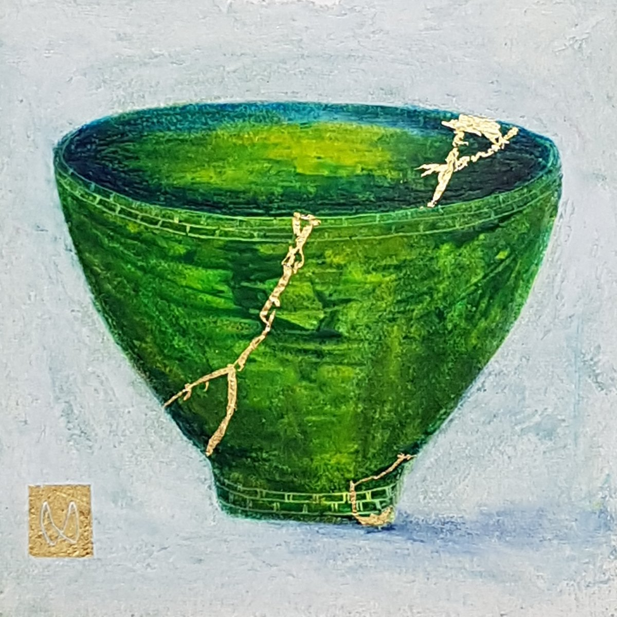 painting of Japanese kintsugi tea bowl with gold by Irish artist green
