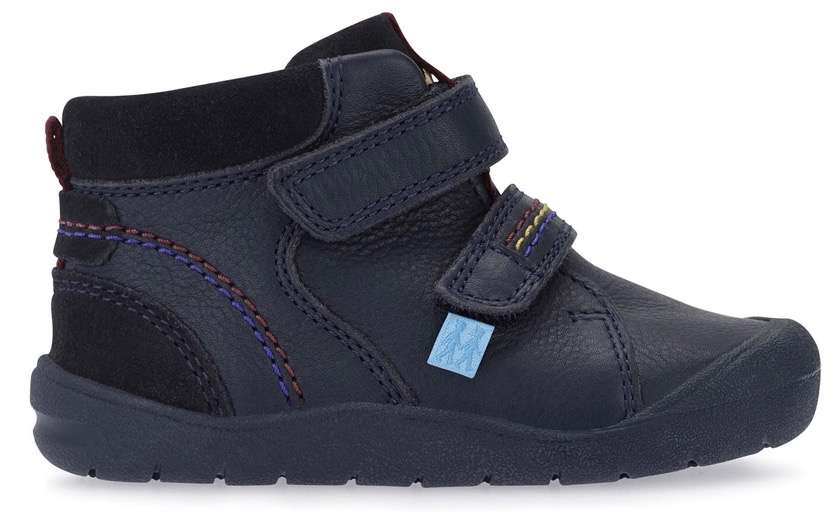 Navy blue leather trainers for young boys