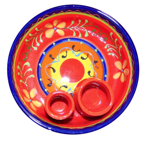 Classic Spanish Orange Flower Olive Bowl