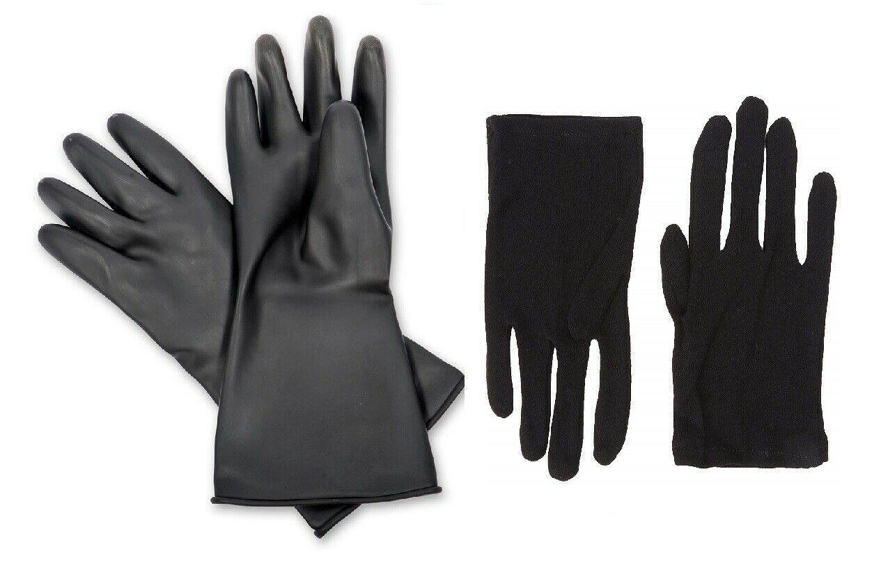 1 Pair Black Rubber Outer Gloves with 1 Pair of Black Cotton inner Gloves