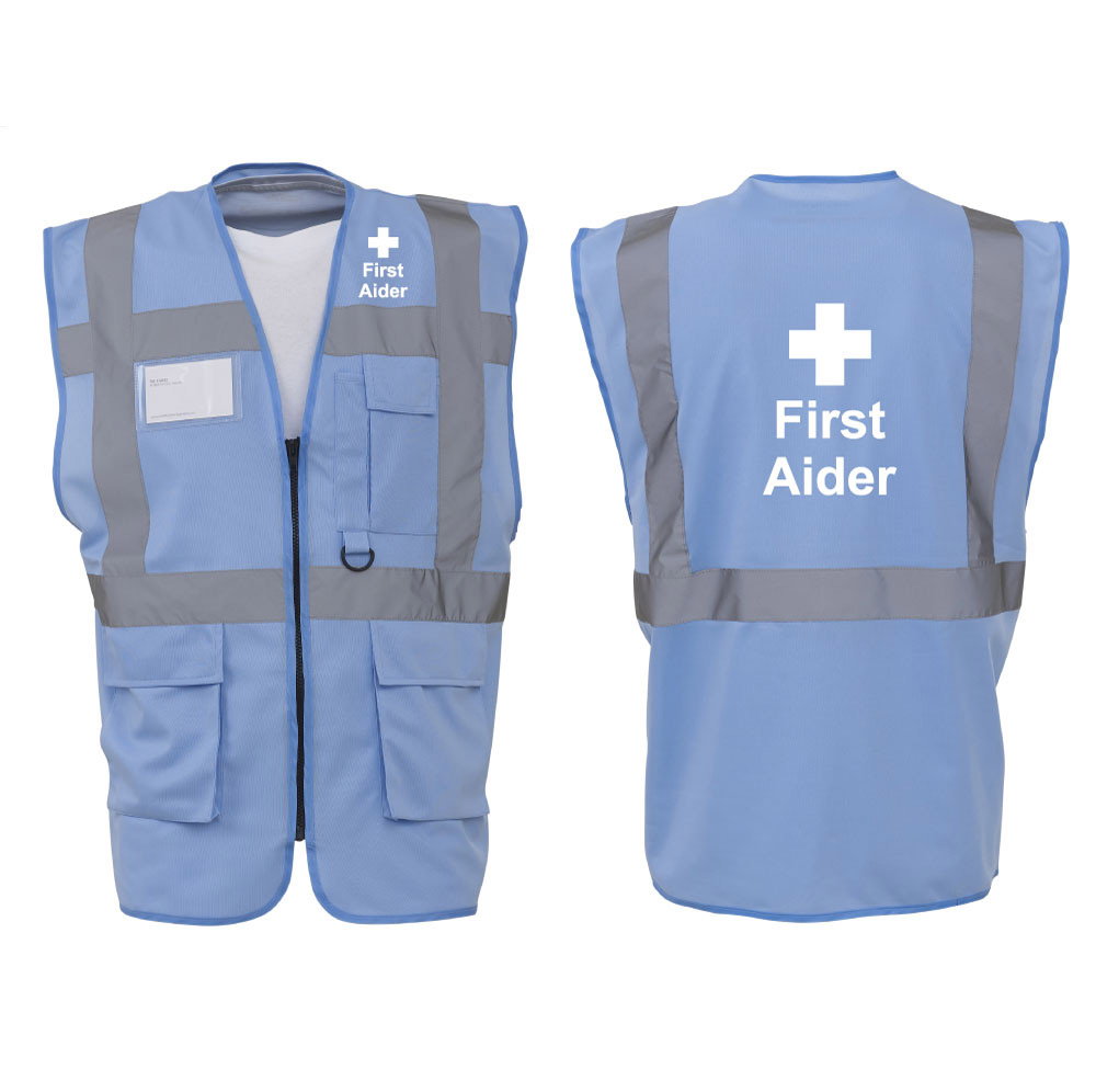 Executive Vest Printed First Aider Sky blue