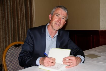 Declan Murphy signing copies of his book