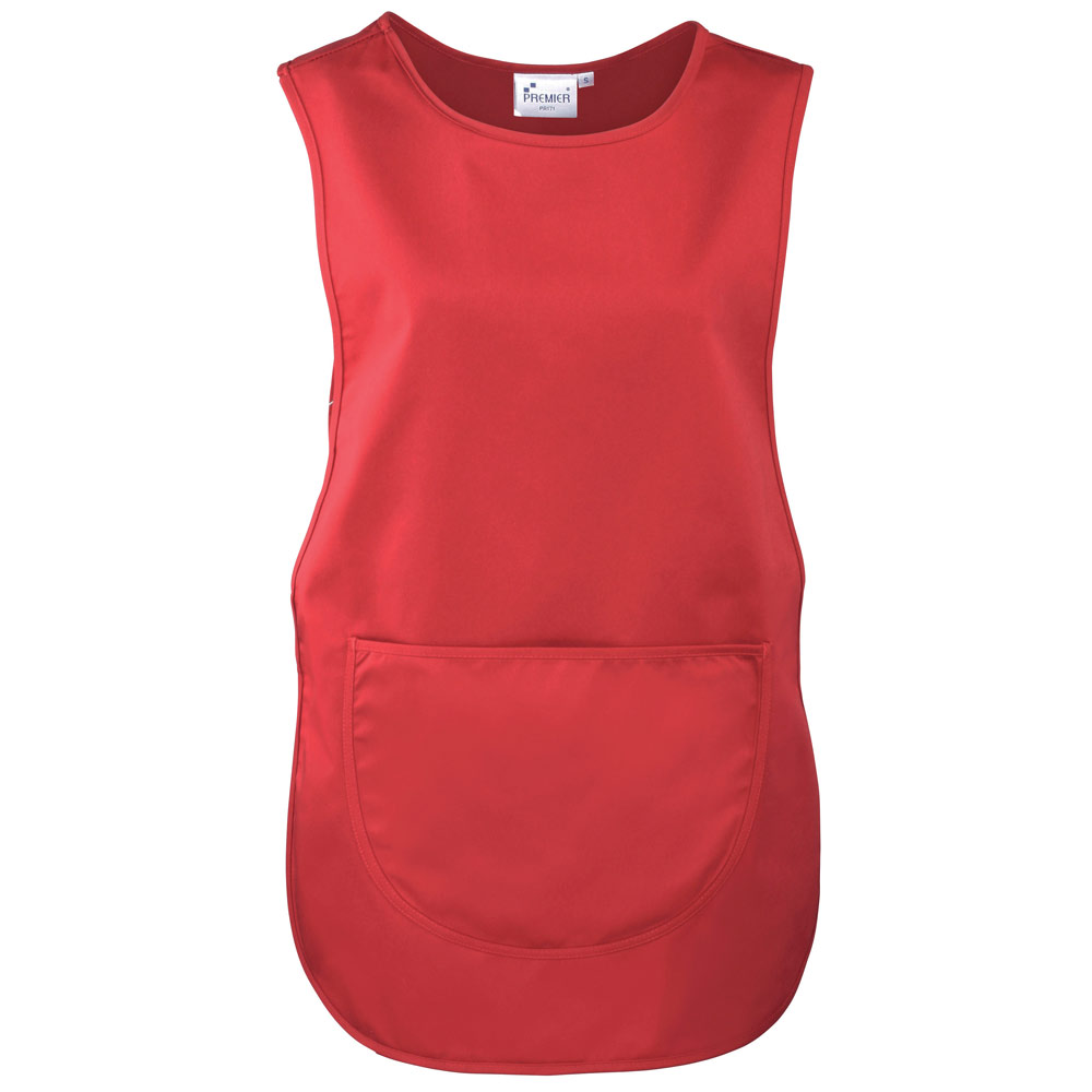 Red Polycotton Tabard with Pocket.