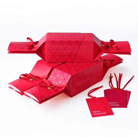 6 Reusable Eco Crackers - 'Christmas Red' design - with FREE tags