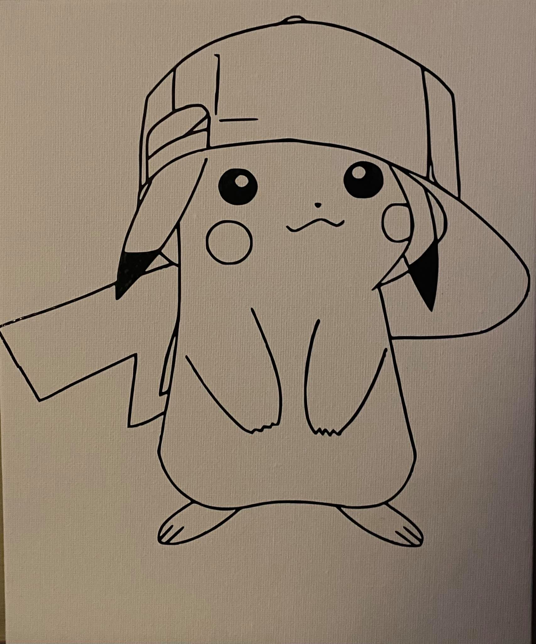 Pikachu With Hat Canvas Board