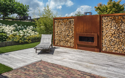Contemporary garden deck & corten steel fire