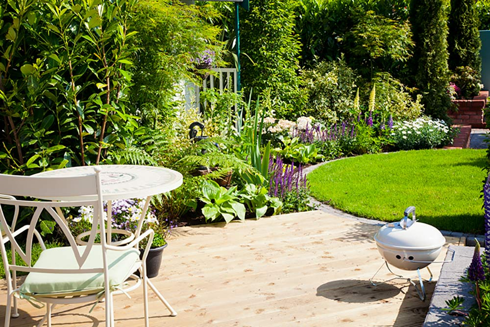 Planting boarder for garden with seating area