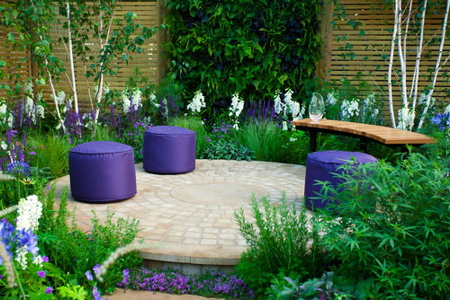 Modern Garden with purple seats