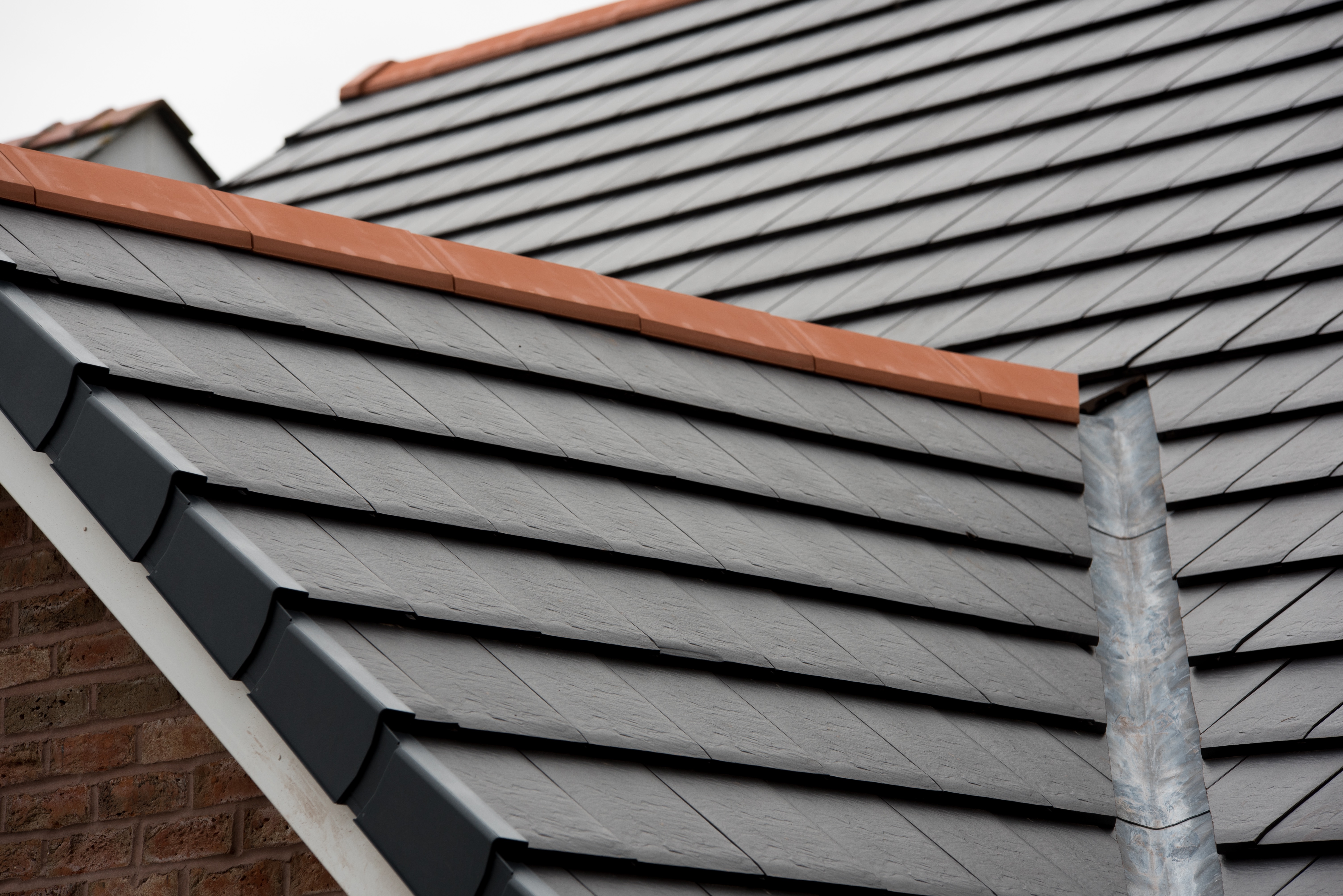 Verea slate effect clay tile and CS PL2 ridge tile