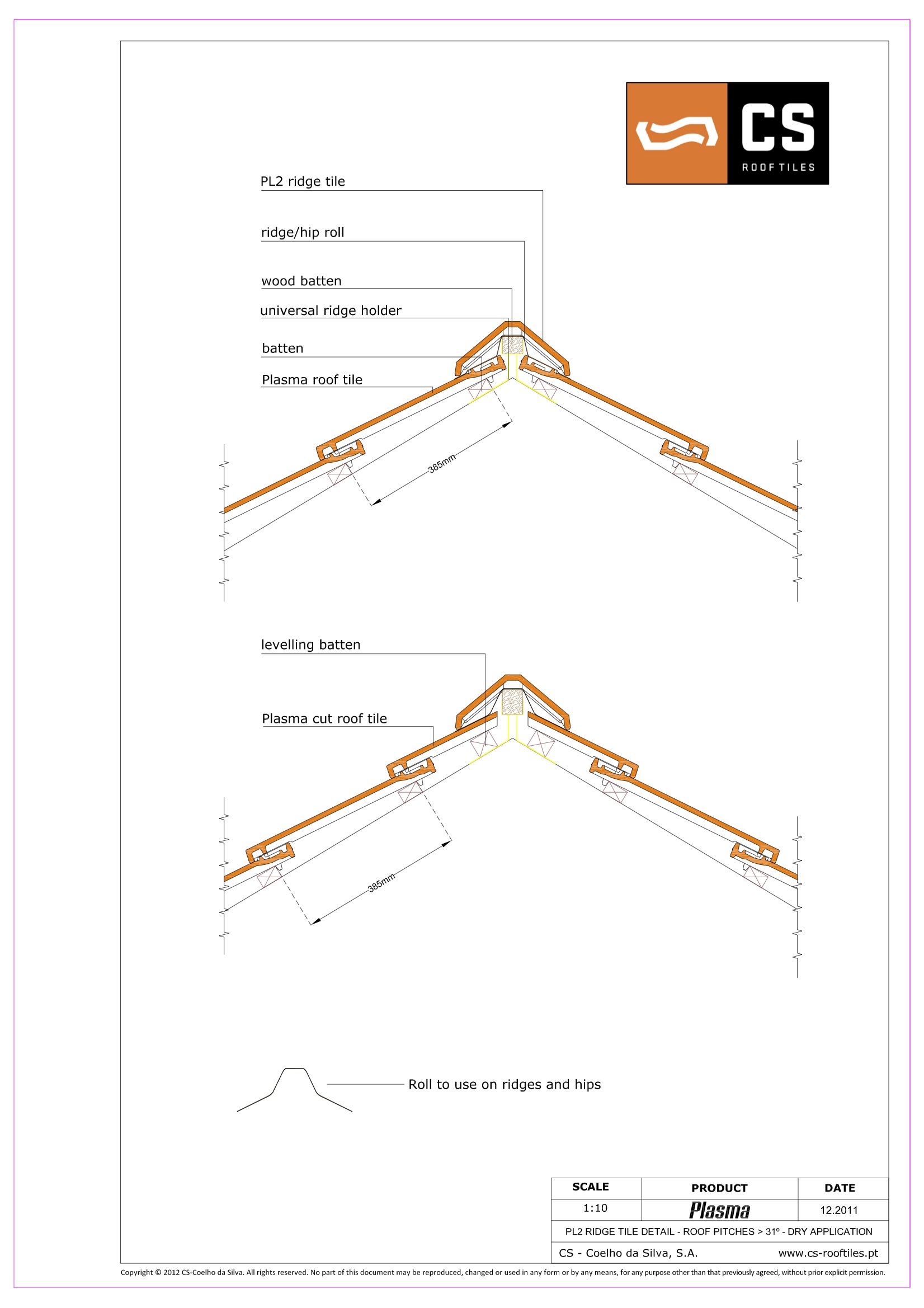 Galex CS PL2 ridge tile technical drawing for fixing options