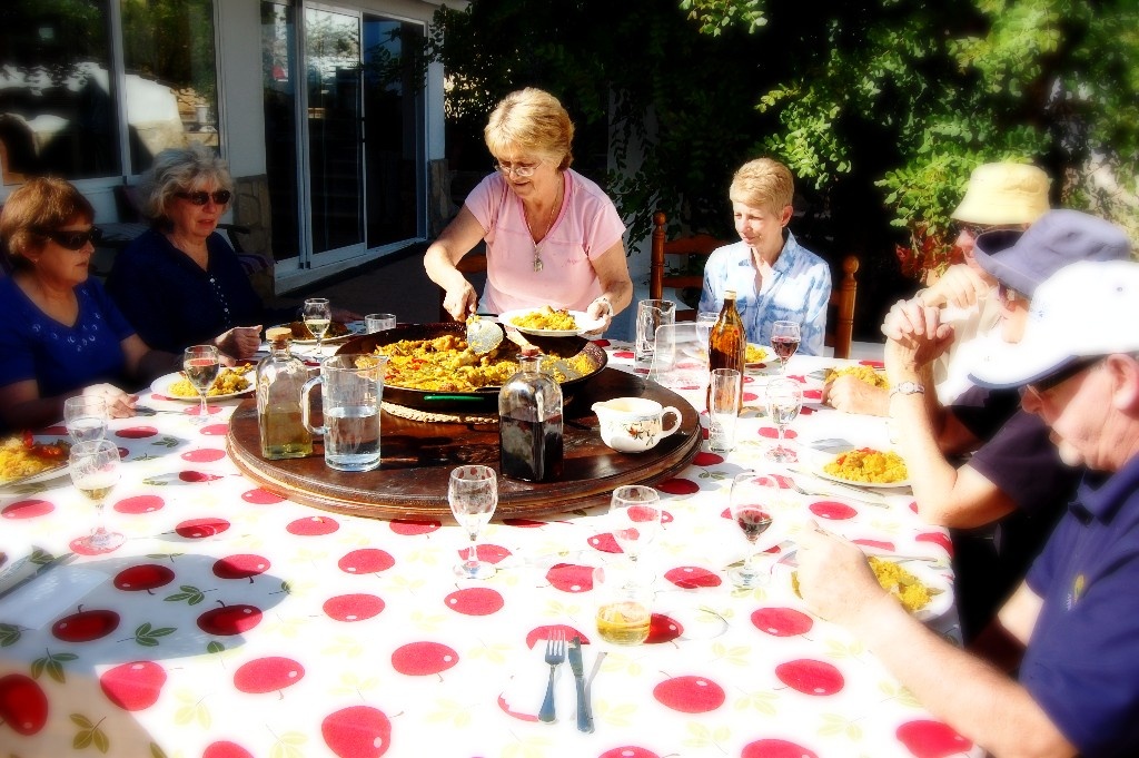 Home made paella for lunch at Dalvaro Art www.paintonholiday.com