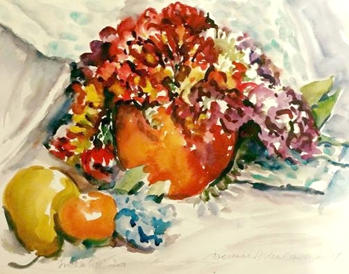 watercolour painting by Doranne Alden art tutor for Dalvaro Art www.paintonholiday.com