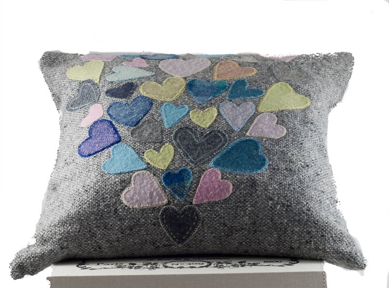Donegal Tweed by Fabric Affair -Heart of hearts cushion kit