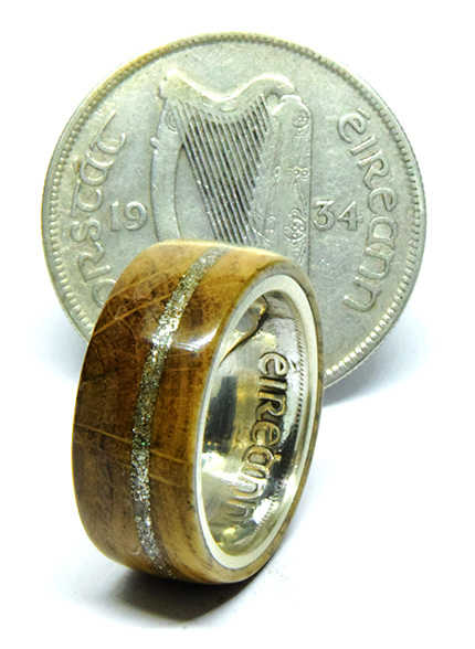 Irish coin ring with Jameson whisky barrel wood