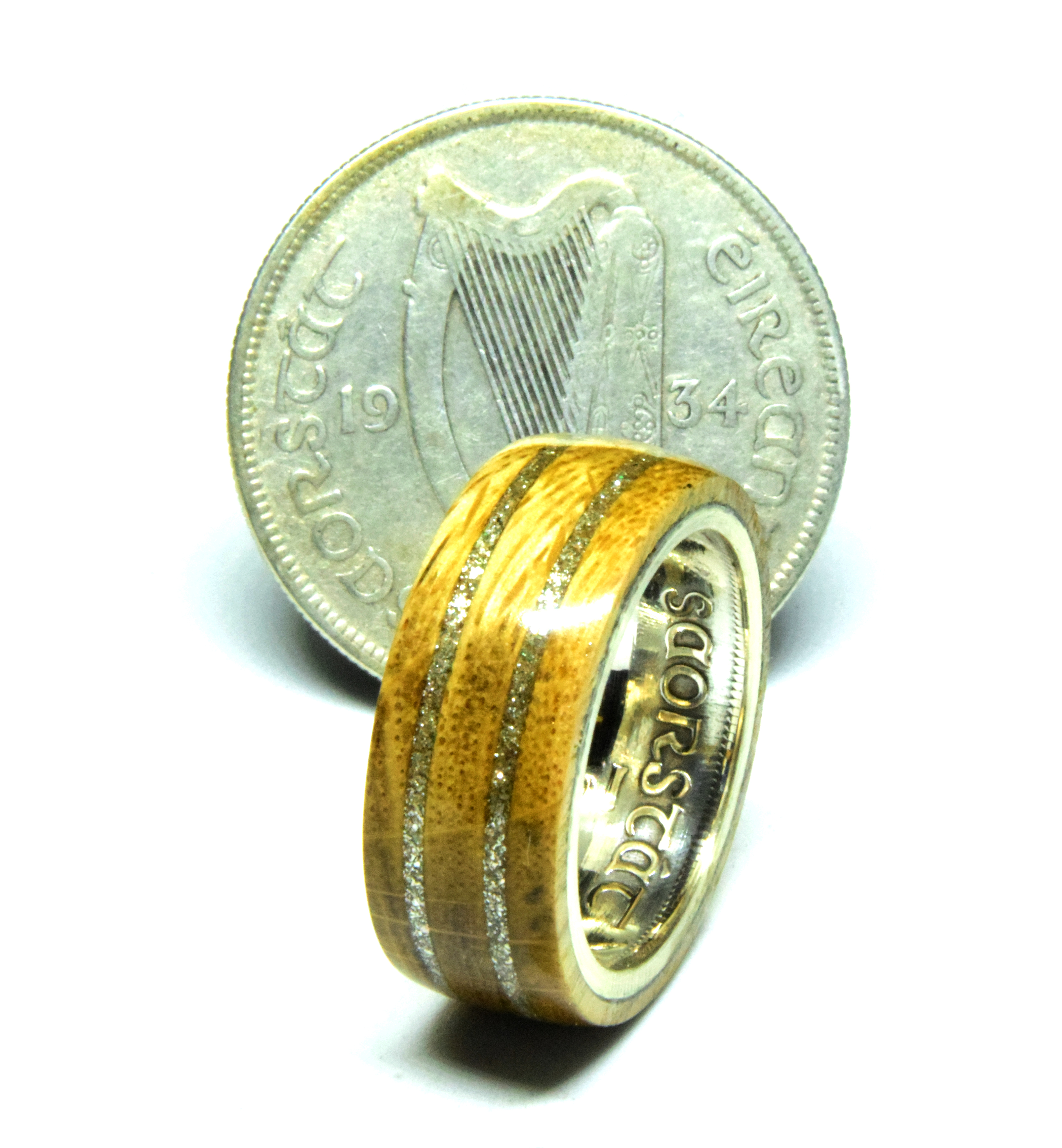 Silver Celtic Irish coin wedding rings