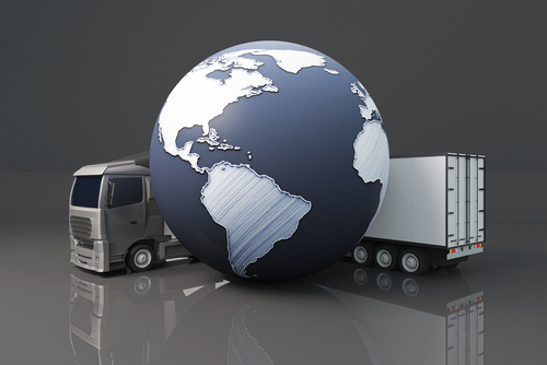 Truck and globe representing national and international moves