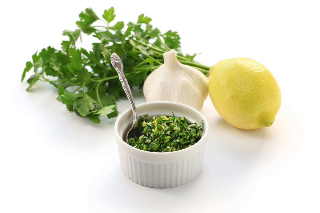 Gremolata is an Italian garnish consisting of fresh parsley, chopped garlic and lemon zest. Just sprinkle over slow-cooked braised meats including grilled fish or chicken. Why not finish off with a pinch of wasabi!